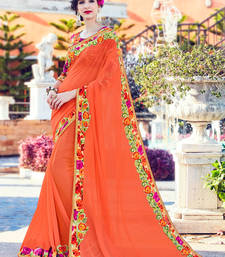 Buy Orange floral and patch and and stone on patch design and floral boder georgette saree with blouse georgette-saree online