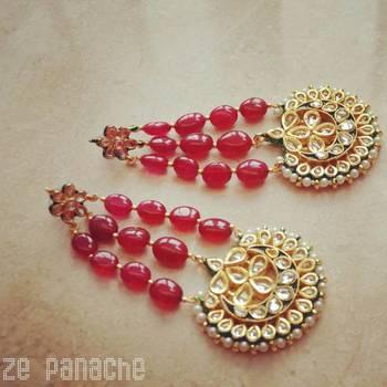 Red Jhoomar Earrings