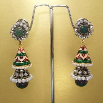 Meenakari Victorian Combo Earrings (Green Purple)
