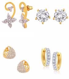 Buy Beautiful Valentine Collection of Earrings combo of American Diamond Stud Earrings & Bali jewellery-combo online