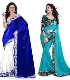 Buy Multicolor plain velvet saree with blouse sarees-combo-sari online