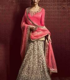Buy grey embroidered net lehenga with choli ghagra-choli online