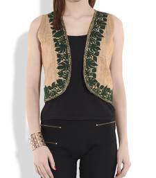 Buy Beige and dark green kashmiri embroidery reversible silk shrug ethnic-jacket online