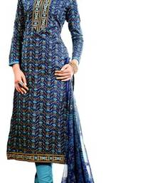 Buy blue digital print lawn cotton unstitched salwar with dupatta cotton-silk-suit online
