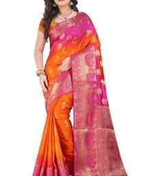 Buy Dark orange printed pure banarasi silk saree with blouse banarasi-saree online