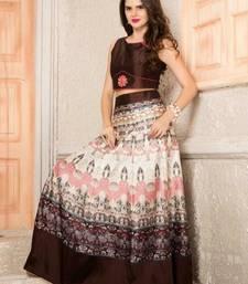 Buy Cream printed banglori silk unstitched lehenga ghagra-choli online