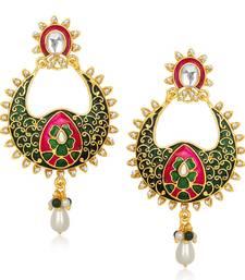 Buy Green and Pink Meenakari danglers-drops Woman online