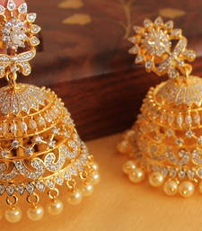 Buy AWESOME SEMI PRECIOUS CZ TWO TONE JHUMKKA-DJ07252 jhumka online