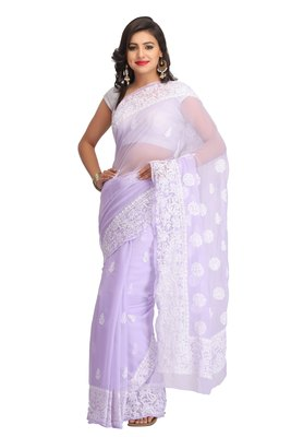 Mauve embroidered faux georgette saree with blouse