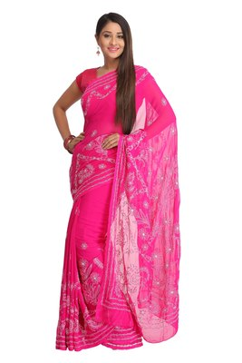 Magenta embroidered faux georgette saree with blouse