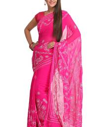 Buy Magenta embroidered faux georgette saree with blouse chikankari-saris online