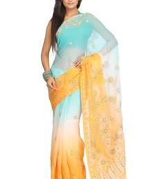 Buy Green embroidered chiffon saree with blouse chikankari-saris online