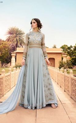 Grey embroidered georgette semi stitched indian anarkali suit
