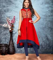 Buy Maroon embroidered art silk kurtas-and-kurtis party-wear-kurti online