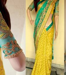 Buy Sky blue embroidered net saree with blouse party-wear-saree online