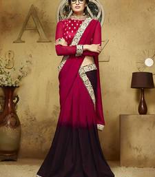 Buy Dark pink embroidered satin saree with blouse satin-saree online