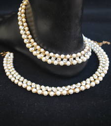 Buy Reeti Fashions - Traditional White Stone and Pearl embellished Single Line anklets anklet online
