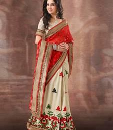 Buy Red and Beige Brasso Half & Half Sari 395 party-wear-saree online