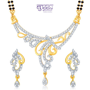 Sukkhi Bewitching Gold and Rhodium Plated Cubic Zirconia Stone Studded Mangalsutra Set(14003MSCZK1900)