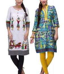 Buy Green and white cotton printed stitched kurti combo-kurtis online