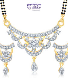 Buy Sukkhi Stylish Gold and Rhodium Plated Cubic Zirconia Stone Studded Mangalsutra Set(14038MSCZK1550) mangalsutra online