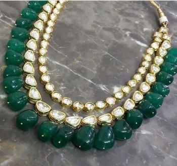 Kundan Necklace with Green Semi precious onyx gemstones