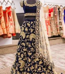 Buy Navy blue embroidered velvet unstitched lehenga bridal-lehenga online