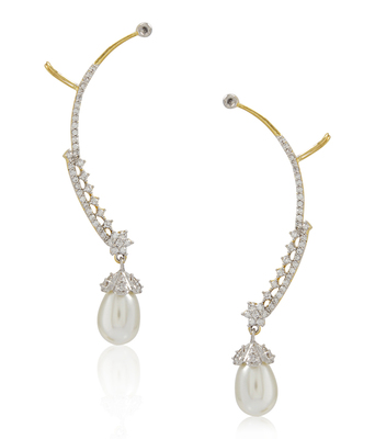 Multicolor pearl ear-cuffs