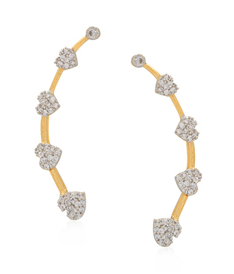 Multicolor cubic zirconia ear-cuffs