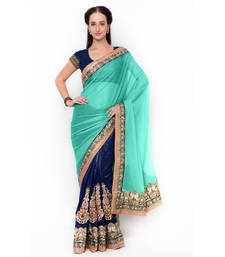 Buy Blue embroidered net saree with blouse diwali-discount-offer online