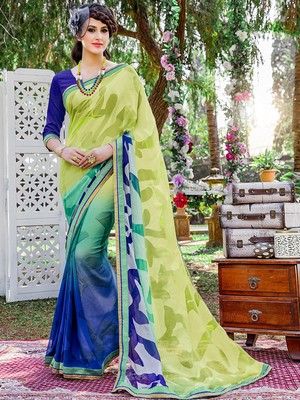 Green printed brasso saree with blouse