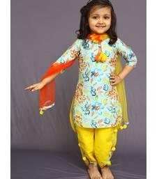 Buy White Button Girl's Banglori Silk Sky Blue Floral Print PartyWear ReadyMade New Kids Salwar Suit Dress black-friday-deal-sale online