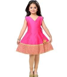 Buy new arrival designer pink angrakha kalidar kurta dress for girls with dupatta black-friday-deal-sale online