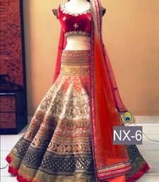 Buy Multicolor embroidered net unstitched lehenga ghagra-choli online