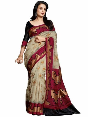 multicolor printed cotton poly saree with blouse