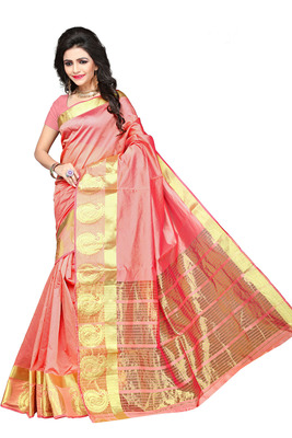 Orange woven manipuri silk saree with blouse