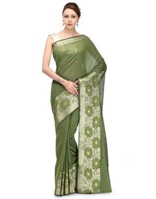 Mehendi woven chanderi saree with blouse