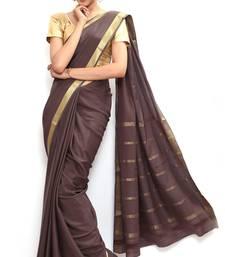 Buy Sudarshan silks Wonderful Pure Mysore silk saree-Brown-SSSB130-VQ-Crepe mysore-silk-saree online