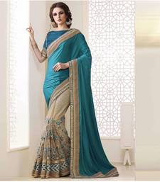 Buy Dark sky blue embroidered georgette saree with blouse bridal-saree online