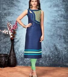 Buy Navy blue embroidered silk silk-kurtis silk-kurti online