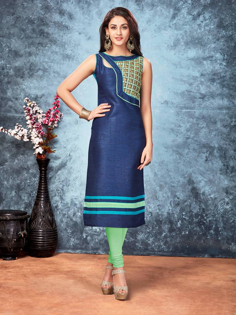 Buy Navy Blue Embroidered Silk Silk Kurtis Online