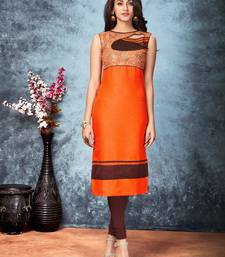 Buy Orange embroidered silk silk-kurtis silk-kurti online