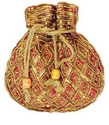 Buy Maroon satin beaded potli-bags potli-bag online