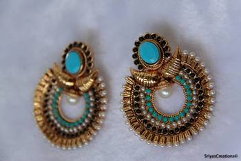 Mango Stone Studded Moon Drop Earring -  Turquoise Black
