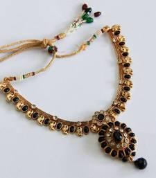 Buy Elegant Black Color Oval Necklace Set necklace-set online