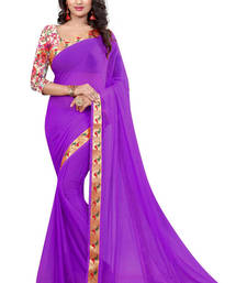 Buy Purple printed nazneen saree with blouse party-wear-saree online