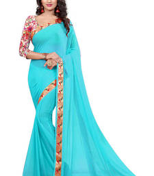 Buy Light blue printed nazneen saree with blouse party-wear-saree online