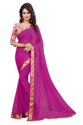 Rani pink printed nazneen saree with blouse