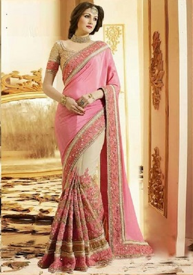 Pink and biege embroidered chinon saree with blouse