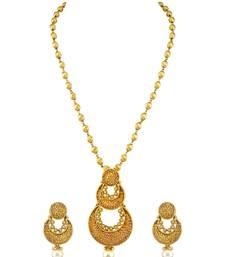 Buy Long Golden Beige CZ AD American Diamond Pendant Earrings Set with Chain Jewellery for Women - Orniza Pendant online